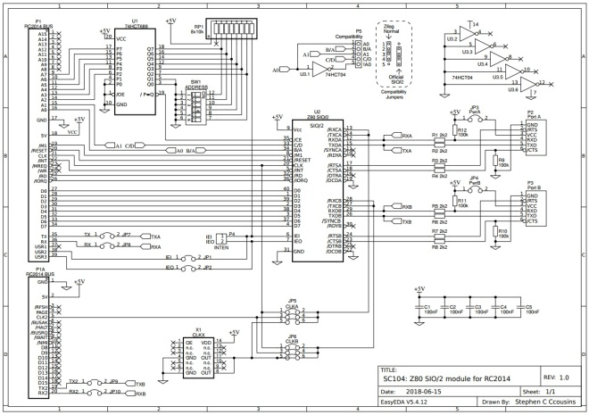 SC104 - Z80 SIO2 for RC2014 - Schematic